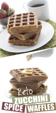 Awesome Zucchini Spice Waffles Something a little different for your keto breakfast. How about some delicious low carb zucchini spice waffles? A great grain-free and sugar-free way . Low Carb Waffles, Low Carb Bread, Keto Bread, Low Carb Keto, Ketogenic Recipes, Low Carb Recipes, Ketogenic Diet, Low Carb Breakfast, Breakfast Recipes