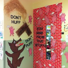 Red Ribbon Week Door Decoration to tie to our study of 3 little pigs School Door Decorations, Class Decoration, Drug Free Week, Classroom Themes, Classroom Board, Classroom Displays, School Classroom, Red Ribbon Week, Teacher Doors