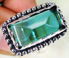 Tsavorite Quartz & 925 Silver Handmade Lovely Ring Size Q & gift-box
