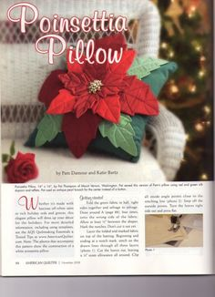 Free Christmas Poinsettia Pillow Pattern and Instructions   (1) Gallery.ru / Фото #1 - patchwork pillow - Aysegul