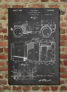Willys Jeep Patent Wall Art Poster This patent poster is printed on 90 lb. Cardstock paper. Choose between several paper styles and multiple