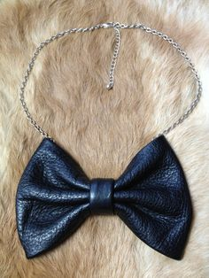 Handmade leather bow tie necklace, for the dapper lady.