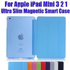 1PC Newest Leather Case for Apple iPad Mini 3 2 1 Fashion  Smart Cover + PC translucent back Cover NO: IM302