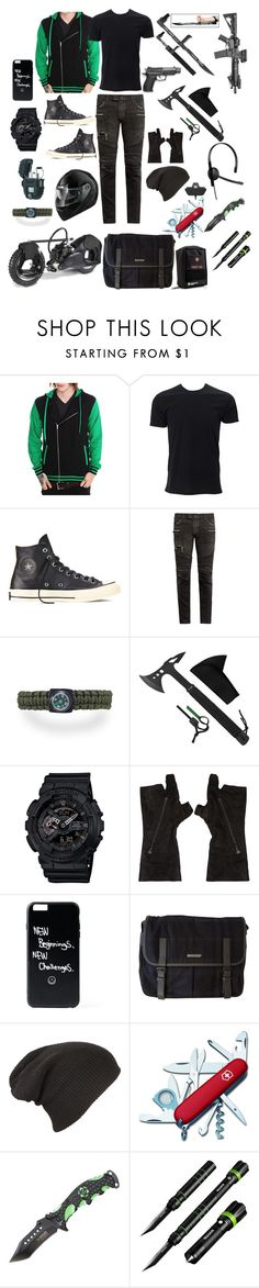 """""""Zombie Apocalypse - Ty's Outfit"""" by mimi-minecrafter ❤ liked on Polyvore featuring Converse, Balmain, G-Shock, Julius, Burberry, Victorinox Swiss Army, Cree, men's fashion, menswear and zombies"""