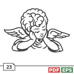 Beautiful Angel and Saint illustrations Cupid Tattoo, Vector Clipart, Sketch Art, Tatting, Embroidery Designs, Projects To Try, Summer Outfits, Angels, Sticker