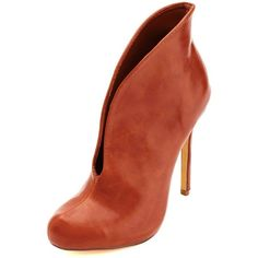 Charlotte Russe Cognac Curved Slit High Heel Booties by Charlotte... ($20) ❤ liked on Polyvore featuring shoes, boots, ankle booties, cognac, high heel booties, charlotte russe boots, faux leather boots, high heel ankle booties and cognac ankle booties