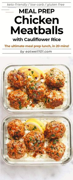 Garlic Butter Chicken Meatballs with Cauliflower Rice Meal Prep - - Cheesy, juicy and so flavorful! Chicken meatballs are easy to put together for the ultimate meal prep lunch. - by meals Meal Prep Garlic Butter Chicken Meatballs with Cauliflower Rice Prepped Lunches, Lunches And Dinners, Clean Lunches, Clean Meals, Clean Recipes, Easy Healthy Recipes, Recipes For Meal Prep, Easy Gluten Free Meals, Keto Meals Easy