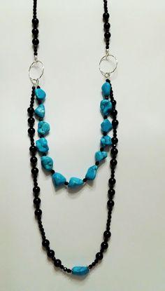 Necklace MANTOS - black and blue jewlery