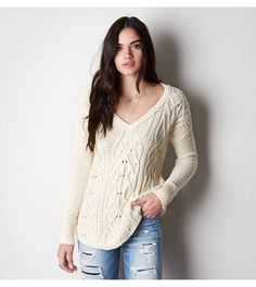 AEO cable knit v-neck sweater