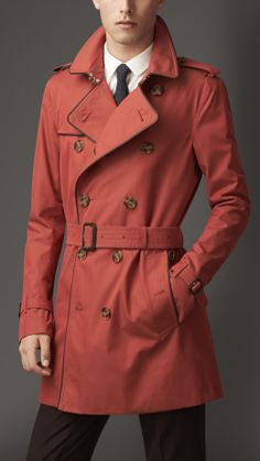 Mid-Length Leather Trim Gabardine Trench Coat   Burberry