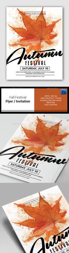 Fall Festival Flyer / Invitation Template PSD #design Download: http://graphicriver.net/item/fall-festival-flyer-invitation/12998747?ref=ksioks