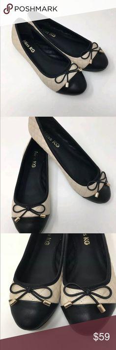 7 UK 3 Cream /& Black 6 4 5 8 MISS KG Maye Quilted Ballerina Court Shoes