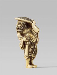 An ivory netsuke of a fierce Shôki. Early 19th century, Auktion 1092 Asiatische Kunst I Indien, Südostasien und Japan, Lot 659