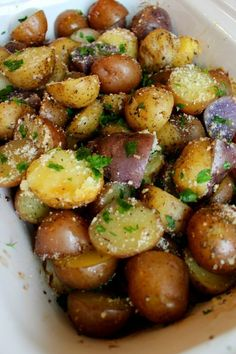 Crock Pot Herb Garlic Parmesan Potatoes - Funny Is Family