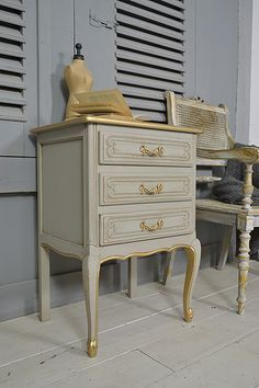 #letstrove This delightful little French Chest of Drawers would be perfect as a beside table. We've painted in Little Greene Serpentine, with Joanna inside and Gold detail. All lightly distressed and aged with dark wax, this vintage beauty won't be around for long! https://www.thetreasuretrove.co.uk/bedroom-storage/small-vintage-french-shabby-chic-bedside-chest-of-drawers  #frenchfurniture #vintagefinds #frenchdecor #grey #littlegreenepaint #gold #shabbychic