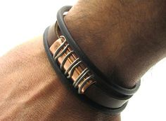 FREE SHIPPING Men Bracelet Men leather bracelet. Brown leather multi strand bracelet with handmade copper and antique clasp