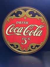 Drink Coca Cola 5 Cents Round TIN SIGN Rustic Coke Meta Dinerl vtg Wall Decor