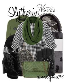 Slytherin by disneykid95 on Polyvore featuring polyvore fashion style Burberry Zara Topshop Ganni Femme Metale Jewelry Native Jewels Karl Lagerfeld Banana Republic