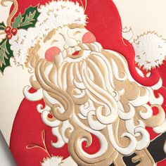 Engraved-Jolly Santa Holiday Greeting Card: Kris Kringle in all his jolly regalia is the star of this Christmas card, which is certain to inspire the spirit of the season in its recipients.