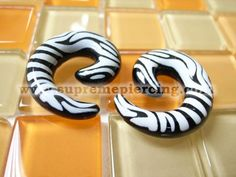 0g 8mm Zebra Horn Spiral Ear Expanders Taper Stretchers