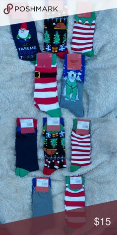 Mossimo Christmas Socks Lot Awesome set of 5 pair of Mossimo Christmas socks! All fit size 6 - 12 men's shoe size. Each pair features a cute holiday design.   All are a mix of polyester, cotton and spandex.  These would make great stocking stuffers or Secret Santa gifts.  From a smoke free home. Mossimo Supply Co. Underwear & Socks