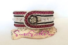 5 Row Beaded Leather Cuff Bracelet, Crystal, Fuchsia and Black Boho Cuff, Cottage Chic, White Leather,Flower Cuff 6.75 inches, Free Shipping