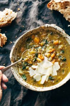 Crockpot Lentil Soup -soup recipe with onions, garlic, carrots, kale, olive oil, squash, and lentils. Vegan / vegetarian / gluten free and SUPER delicious! / Wholesome Foodie <#