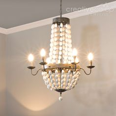 Wood beads painted crystals chandelier creative co op home distressed white wood beads chandelier creative co op home aloadofball Choice Image