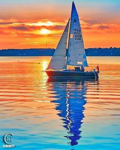 Image may contain: sky, ocean, boat, outdoor, water and nature Seascape Paintings, Landscape Paintings, Sailboat Painting, Boat Art, Pictures To Paint, Beautiful Sunset, Beautiful Landscapes, Sailing Ships, Nature Photography