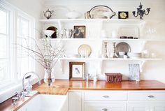 5 Ways to add mad style to your kitchen// open shelves, wood counters