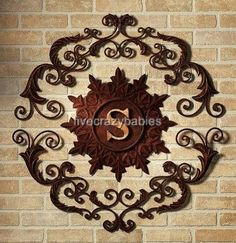 Attractive Lavish IRON SCROLL MONOGRAM Initial Letter Wall Grille Plaque Art Metal  Outdoor