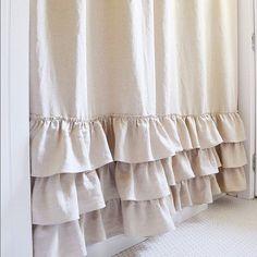 Belgium Linen Ruffle Shower Curtain White Cotton Handmade Shabby Chic Girls Bathroom Curtain Custom Color Option Natural Flax Linen