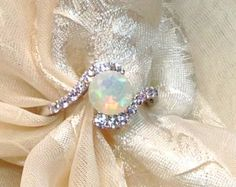 Opal Bypass Ring or Engagement Ring Handmade Jewelry