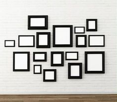 Picture frame on white brick wall Wall Collage, Framed Wall Art, White Brick Walls, White Picture Frames, Lodge Style, Hanging Pictures, Inspiration Wall, Wall Design, Home Art