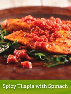 Spicy Tilapia with Spinach {leanest}  http://www.youfit.tsfl.com  http://www.facebook.com/healthconfessions.com