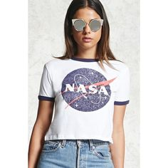 Forever21 NASA Graphic Ringer Tee ($16) ❤ liked on Polyvore featuring tops, t-shirts, round neck t shirt, short sleeve t shirts, short sleeve tops, graphic t shirts and short sleeve graphic tees