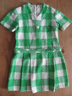 Hand Made Green And White Check Dress Size by SUNDANCEKIDVINTAGE, $15.00