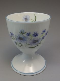 Vintage Shelley Egg Cup Blue Rock Flowers Dainty Bone China England  #BlueRockDainty