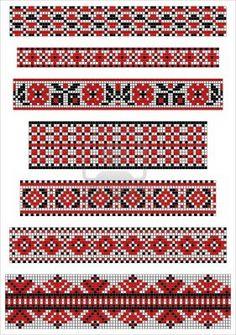 Ethnic cross stitch borders pattern Stock Photo
