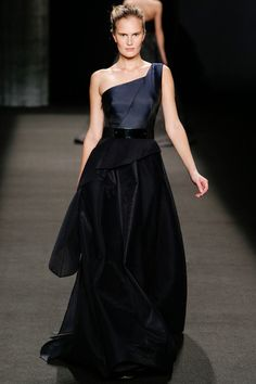 Architectural, asymmetrical, beautiful in blacks and bluesy greys. Ayn Rand would have written this one into DT's evening wardrobe in Atlas Shrugged if she saw it. Monique Lhuillier Fall 2014 Ready-to-Wear Collection Slideshow on Style.com