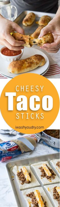 cool These super simple Cheesy Taco Sticks are buttery breadsticks filled with taco m...