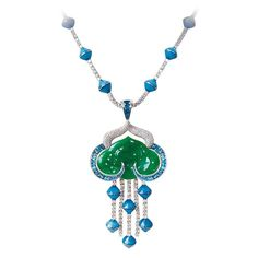 The Imperial jade necklace by Avakian combines Imperial jade with blue mother-of-pearl and sapphires. The cloud is carved from 78.60 carats of Imperial jade and the raindrops are formed from blue mother-of-pearl beads. It's is finished with 21.96 carats of diamonds and sapphire cabochons. Discover the jewellery house from Geneva give fashion a playful spin: http://www.thejewelleryeditor.com/jewellery/top-5/top-5-avakian-jewels-you-need-to-see-to-believe/ #jewelry