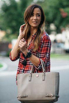 plaid button-up, tory burch handbag