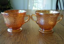 Depression Glass Normandie Iridescent Creamer and Sugar