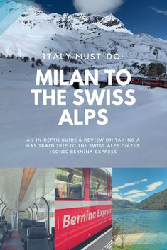 How to Visit the Swiss Alps from Milan – Bernina Express Day Trip. Everything you need to know about taking this train through the Swiss Alps from Italy. A must for any Italian vacation. Italy Vacation, Italy Travel, Shopping Travel, Italy Trip, India Travel, Train Information, Bernina Express, Mall Of America, North America