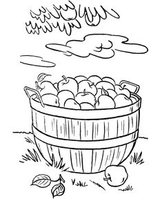 Autumn Coloring Pages To Keep The Kids Busy On A Rainy Fall Day Basket Of Apples