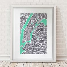 Typographic map of NYC  limited edition screen print - £150