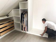 DIY - PAX walk-in closet under a sloping roof! Attic Bedroom Storage, Attic Master Bedroom, Loft Storage, Attic Closet, Attic Rooms, Attic Spaces, Closet Bedroom, Master Closet, Walk In Wardrobe