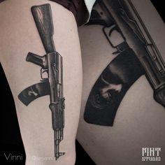 Tattoo Dima Shandarin - tattoo's photo In the style Blackwork, Weap Leg Tattoos, Small Tattoos, Cool Tattoos, Skull Tattoo Flowers, Flower Tattoos, Ak 47, Letter G Tattoo, Ak47 Tattoo, Barbed Wire Tattoos