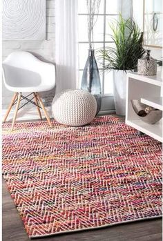 Bungalow Rose Hussain Hand Woven Cotton Magenta Area Rug Rug